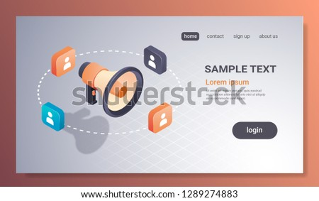 social media promotion digital marketing concept loudspeaker microphone icon advertising and promo 3d isometric flat horizontal copy space