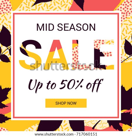 Social media promotional mid season sale banner. Abstract autumn leaves background. Pattern in trendy 80s and 90s Memphis style.  EPS10.