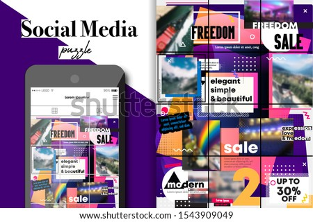 Social Media Puzzle Template Pack for creature your unique content grid. Modern ultra endless design banner, screen. app editorial service. Mockup for personal neon vibrant digital blog. Endless