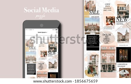 Social Media Puzzle Template Pack for creature your unique content. Mockup for personal blog. Modern ultra endless design banner, screen. app editorial service. Endless square puzzle for promotion.