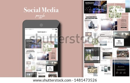 Social Media Puzzle Template Pack for creature your unique content. Modern ultra endless design banner, screen. app editorial service. Mockup for personal blog. Endless square puzzle for promotion.