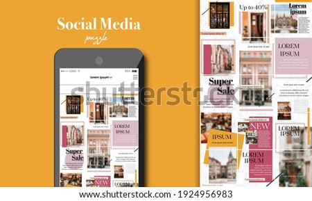 Social Media Puzzle Template Pack for creature your unique content. Modern ultra endless design banner, screen. Kit app editorial service. Mockup for personal blog. Endless square puzzle for promotion