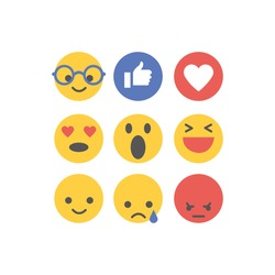 Social media reactions. Flat design. Vector illustration.