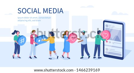 Social media referral marketing concept with characters.  Flat isometric vector illustration isolated on white background.