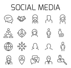Social media related vector icon set. Well-crafted sign in thin line style with editable stroke. Vector symbols isolated on a white background. Simple pictograms.