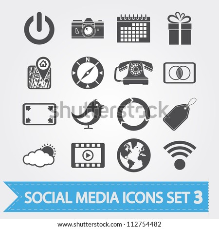 Social media related vector icons for your design or application.