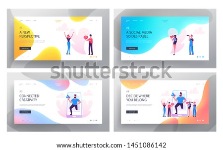 Social Media Relations, Blog, Website Landing Page Set, Smart Technologies, Blogging, Internet Communication, Profile Accounting, Email Concept for Web Page. Cartoon Flat Vector Illustration, Banner