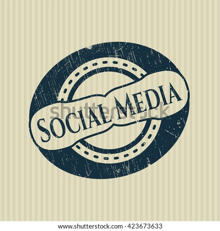 Social Media rubber grunge stamp