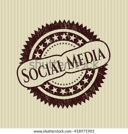 Social Media rubber grunge texture seal