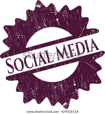 Social Media rubber seal with grunge texture