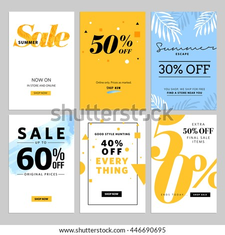 Social media sale banners and ads web template collection. Vector illustrations for website and mobile website banners, posters, email and newsletter designs, ads, promotional material.