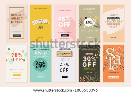 Social media sale banners and web ads templates set. Vector illustrations for website and mobile banners, print material, newsletter designs, coupons, marketing.