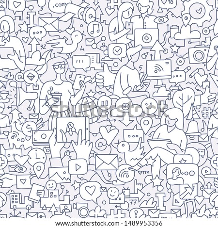 Social media seamless doodle pattern. People using internet and mobile devices to communicate. Modern communication technology background