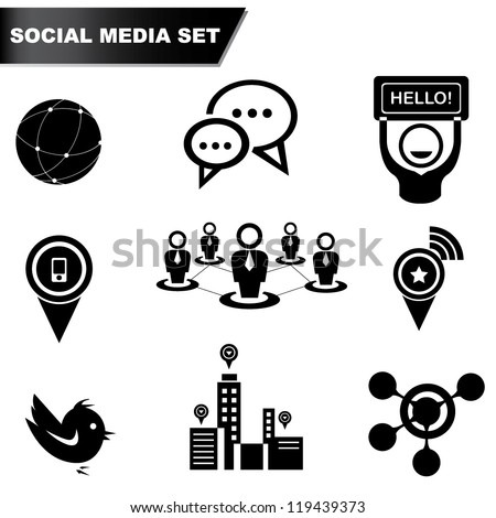 social media set, icon set - stock vector