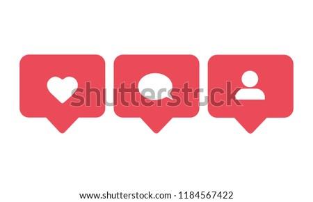 Social media set notifications icons: like, follower, comment. Vector illustration