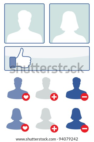 social media set vector illustration facebook concept