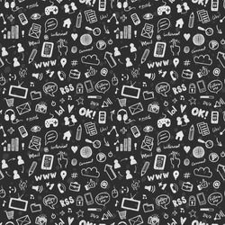 Social media sketch vector seamless pattern. Doodle chalk drawing background