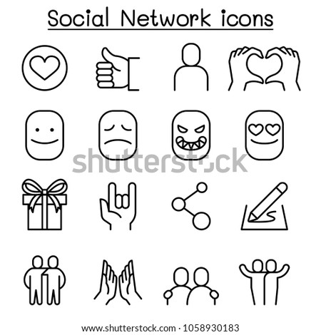 Social media & Social Network icon set in thin line style