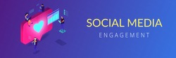 Social media specialists and analyst work with tablets and laptops and like. Social media engagement, in-platform messaging, SMM campaign concept. Isometric 3D banner header template copy space.