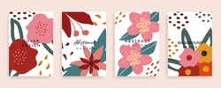 Social media stories and post cover design vector set. Background template with copy space for text and images design by abstract coloured shapes, line arts and floral.