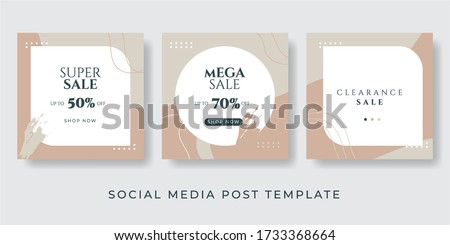 Social media stories and post creative Vector set. Background template with copy space for text and images design by abstract colored shapes, line arts , Tropical leaves warm color of the earth tone Foto stock ©
