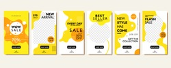 Social media story template for special offer and discount. Yellow abstract promotion web banner poster for mobile apps. Geometric pattern background frame layout for photo product and online shop