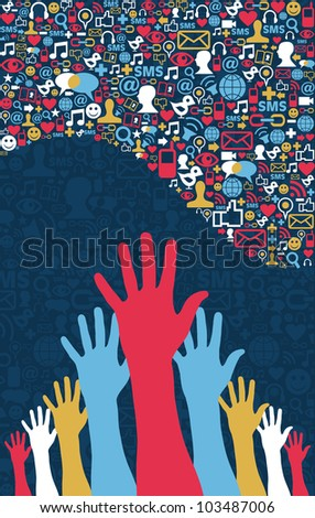 Social media strategy. Icons set in wave shape layout with hands. Vector file layered for easy manipulation and custom coloring.