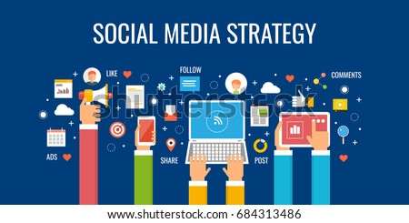 Social media strategy, social network business marketing vector banner with icons isolated on dark background