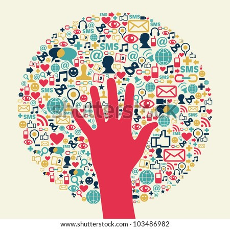 Social media success circle with hand. Vector file layered for easy manipulation and custom coloring.