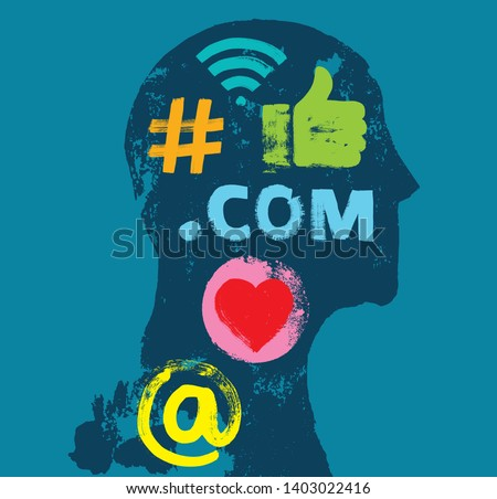 Social Media Symbols in Head Silhouette, Social Media on the Brain, Grunge Texture, Online Presence, LinkedIn, Concept, Algorithm, Millennial, Google, LinkedIn, Influencer, Facebook, Instagram