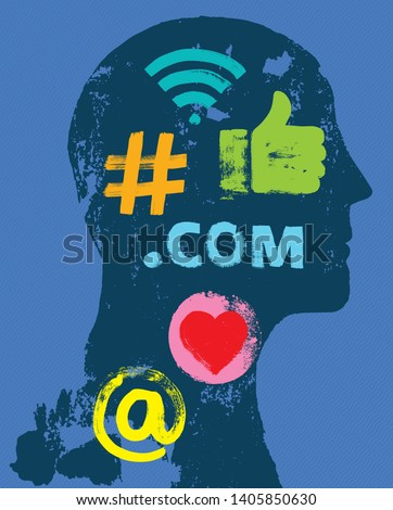 Social Media Symbols in Head Social Media on the Brain, Grunge, Privacy Settings, Internet Obsessed, LinkedIn, Concept, Algorithm, Millennial, Google, Blockchain, Influencer, Facebook, Instagram, Apps