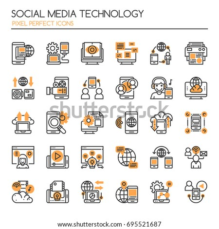 Social Media Technology , Thin Line and Pixel Perfect Icons