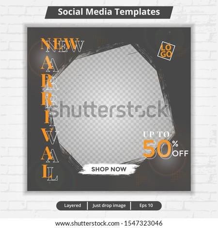 Social media template, abstract social media design vector for ad, web banner ad