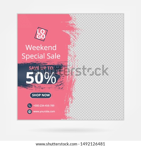 Social media template, abstract social media design vector for ads, ads design for fashion sale