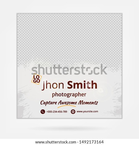 Social media template, abstract social media design vector for ads photographer, ads design for wedding photography