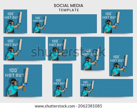 Social Media Template And Header Design Set With New Zealand Cricket Batter Raising His Bat Over Blue Square Grid Background.