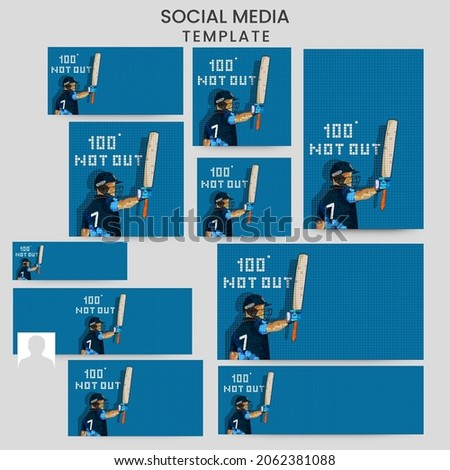 Social Media Template And Header Design Set With Numibia Cricket Batter Player On Blue Grid Background.