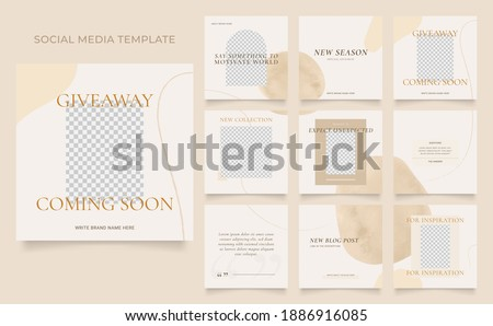social media template banner blog fashion sale promotion. editable square post frame puzzle organic sale poster. black grey white vector background