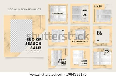 social media template blog fashion sale promotion. editable square post frame organic sale poster. brown khaki beige ad banner vector background