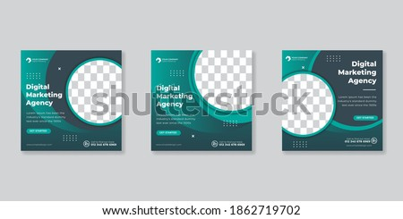 Social media template business agency for digital marketing and business sale promo. furniture or fashion advertising. banner offer. promotional mockup photo vector frame Foto stock ©