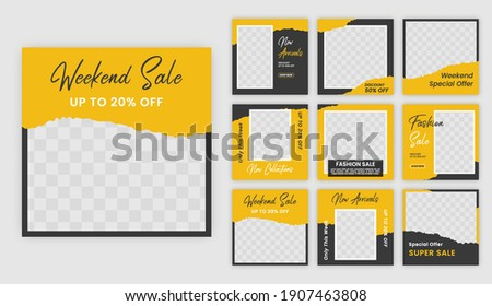 social media template post for ads. design with yellow and black color. suitable for social media post and web ads.