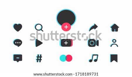 Social media templates design buttons web application. Web symbols, app, ui. User interface element. Vector illustration Stock fotó ©