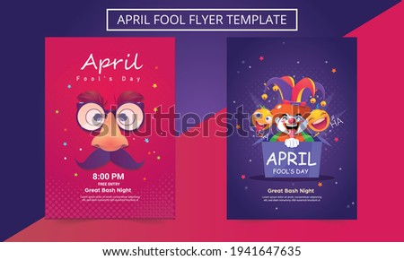 Social media templates for April fool's day. April fool's day party. Flyer, Poster, Brochure, Invitation, Card. Сток-фото ©
