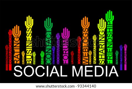 SOCIAL MEDIA text bar-code with hands, vector