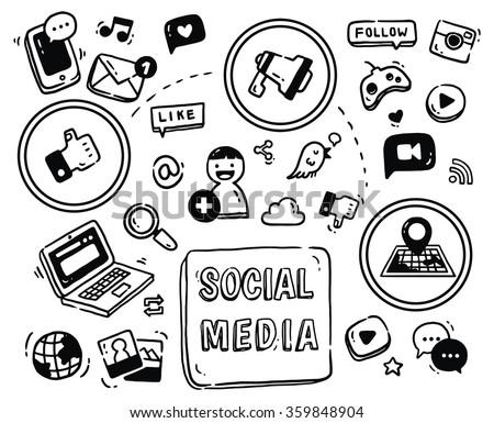 social media themed doodle