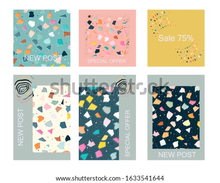 Social media tiling posts and stories frames with trendy terrazzo pattern creative backdrop. Chaotic stone pieces on white background. Modern marble textile, tile design vector illustration.