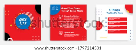 Social media tutorial, tips, trick, did you know post banner layout template with geometric background design element in red, black, white, blue color combination Photo stock ©