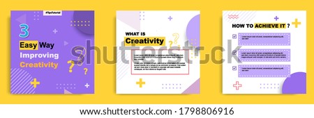 Social media tutorial, tips, trick, did you know post banner layout template with geometric background design element in purple, yellow, white color combination ストックフォト ©