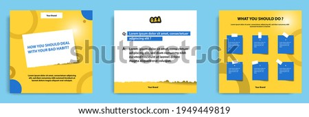 Social media tutorial, tips, trick, did you know post banner layout template with sticky paper note clips design element.