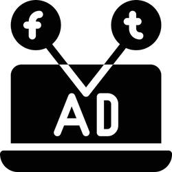 social media vector glyph flat icon